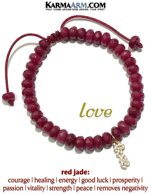 Charm bracelet. Pave Love yoga beaded chakra jewelry. Red Jade.