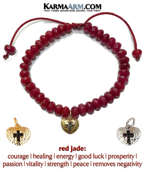 Charm bracelet. heart cross yoga beaded chakra jewelry. Red Jade.