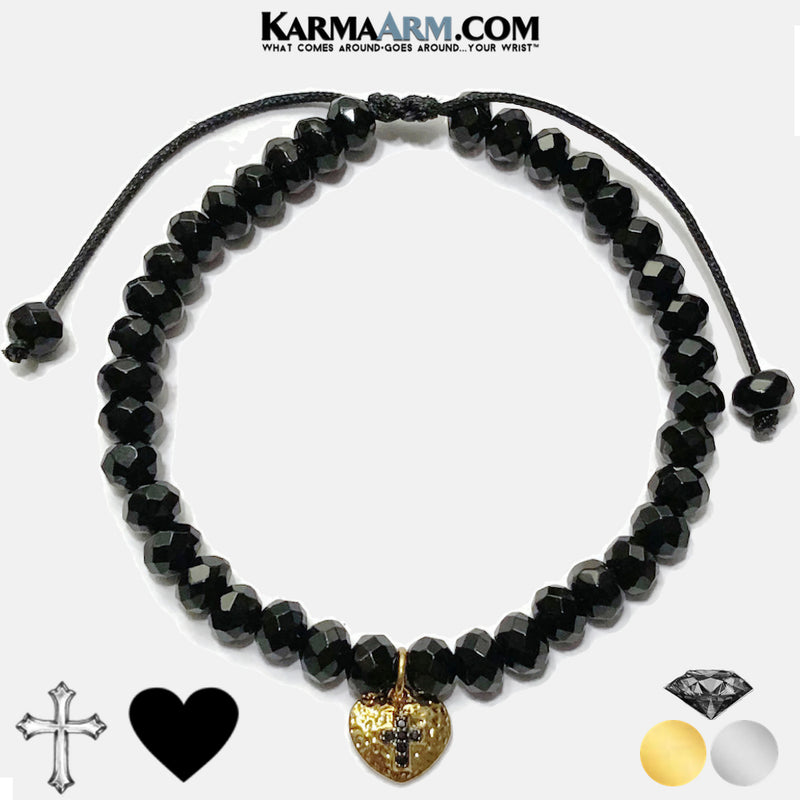 Charm bracelet. heart cross yoga beaded chakra jewelry. Black Onyx.