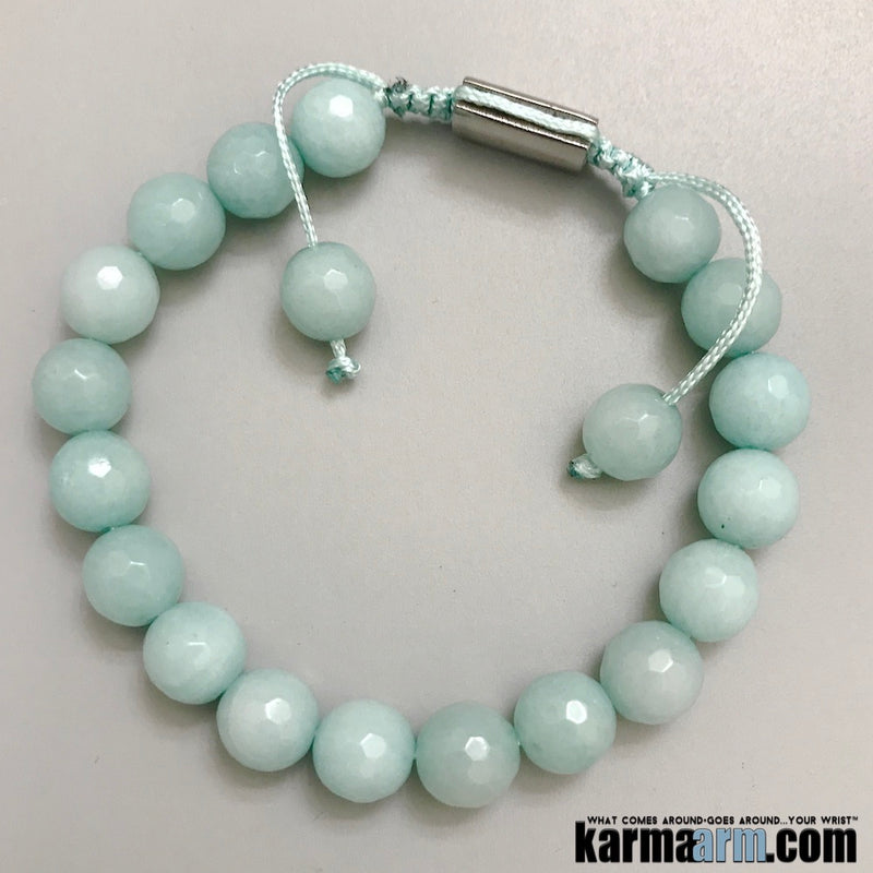 Yoga Bracelets. Aquamarine Beaded Stretch Charm Jewelry. Chakra Mantra . Reiki Meditation Mala.