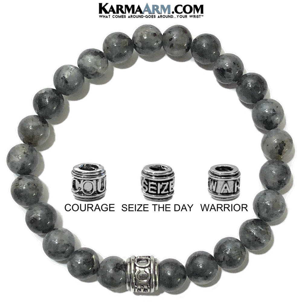Seize The Day Carpe Diem Jewelry. Meditation Mantra Yoga Bracelet. Black Moonstone.