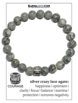Courage Meditation Mantra Yoga Bracelet. Self-Care Wellness Wristband Jewelry. Crazy Lace Agate.