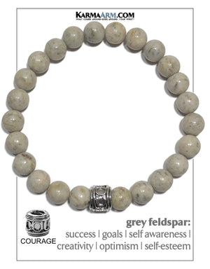 Courage Warrior Seize The Day Wellness Self-Care Meditation Yoga Bracelets. Mens Wristband Jewelry. Grey Feldspar.