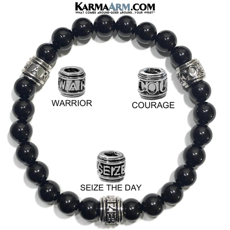 Courage Warrior Seize The Day Wellness Self-Care Meditation Yoga Bracelets. Mens Wristband Jewelry. Black Onyx. all.