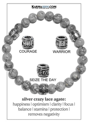 Carpe Diem Courage Warrior Seize The Day Wellness Self-Care Meditation Yoga Bracelets. Mens Wristband Jewelry. Silver Crazy Lace Agate.