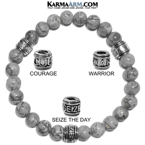 Courage Warrior Seize The Day Wellness Self-Care Meditation Yoga Bracelets. Mens Wristband Jewelry. Silver Crazy Lace Agate.
