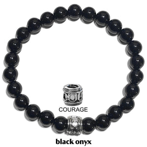 Courage Warrior Seize The Day Wellness Self-Care Meditation Yoga Bracelets. Mens Wristband Jewelry. Black Onyx.