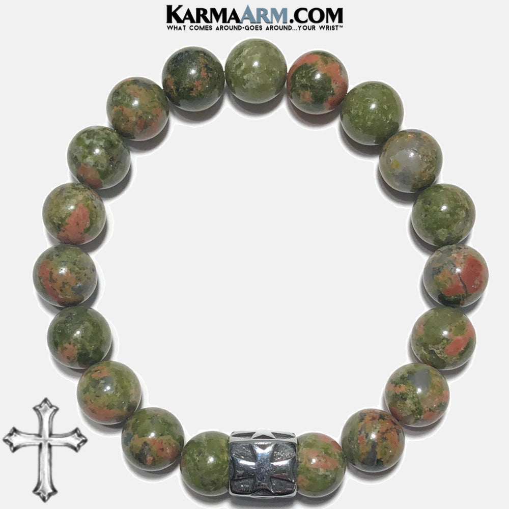 Cross Bead Meditation Yoga Bracelets. Self-Care Wellness Wristband Jewelry. Unakite.