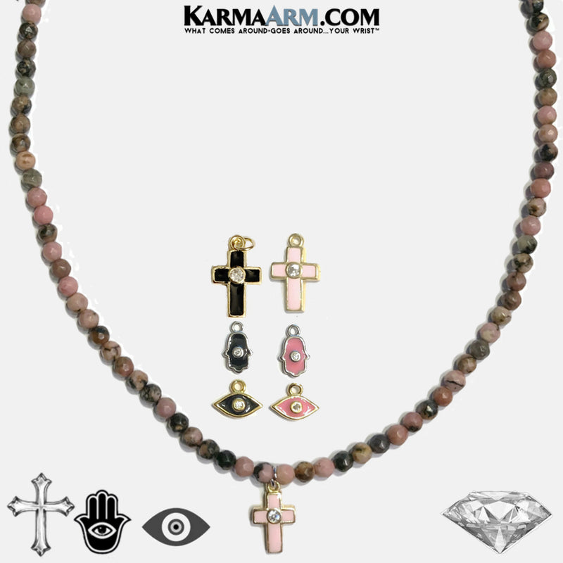 Cross Evil Eye Hamsa Hand Charm Necklace Rhodonite Wellness Self-Care Meditation Yoga Bracelets. copy 4