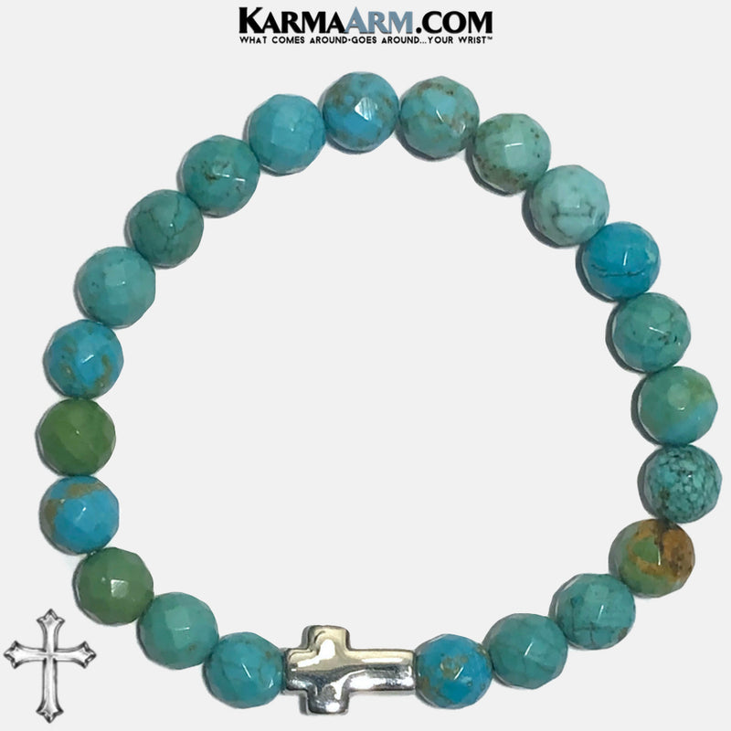 Cross Meditation Mantra Self-Care Wellness Yoga Bracelets. Mens Wristband Jewelry. Turquoise copy