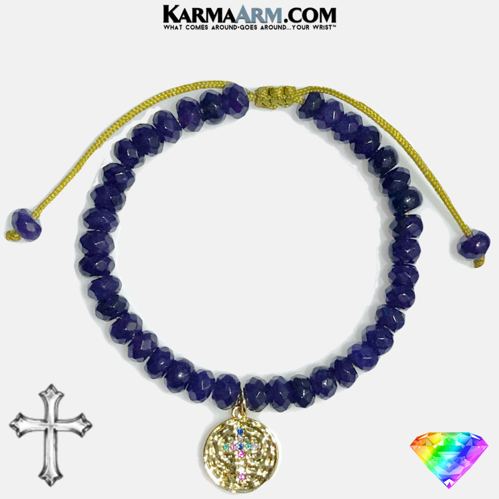 Cross Meditation Mantra Yoga Bracelets. Mens Wristband Jewelry. Amethyst.