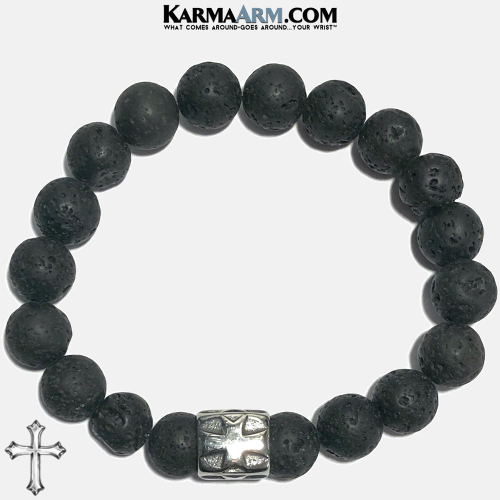 Cross Meditation Mantra Yoga Bracelets. Mens Wristband Jewelry. Lava.