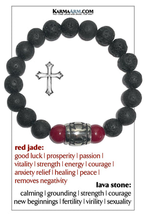 Cross Meditation Mantra Yoga Bracelets. Mens Wristband Jewelry. Lava Red Jade.
