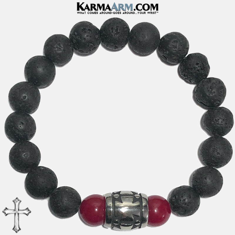 Cross Meditation Mantra Yoga Bracelets. Mens Wristband Jewelry. Red Jade Lava.