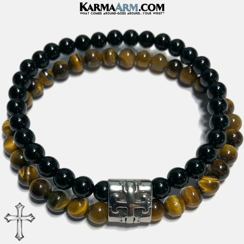 INNER STRENGTH | Tiger Eye | Black Onyx | Maltese Cross Bracelet