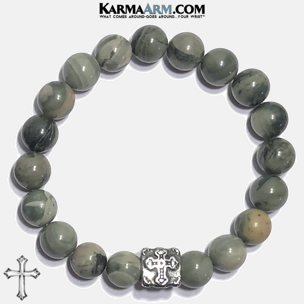 Cross Mens Meditation Yoga Bracelets. Self-Care Wellness Wristband Mantra Jewelry. Green Line Jasper. copy 2
