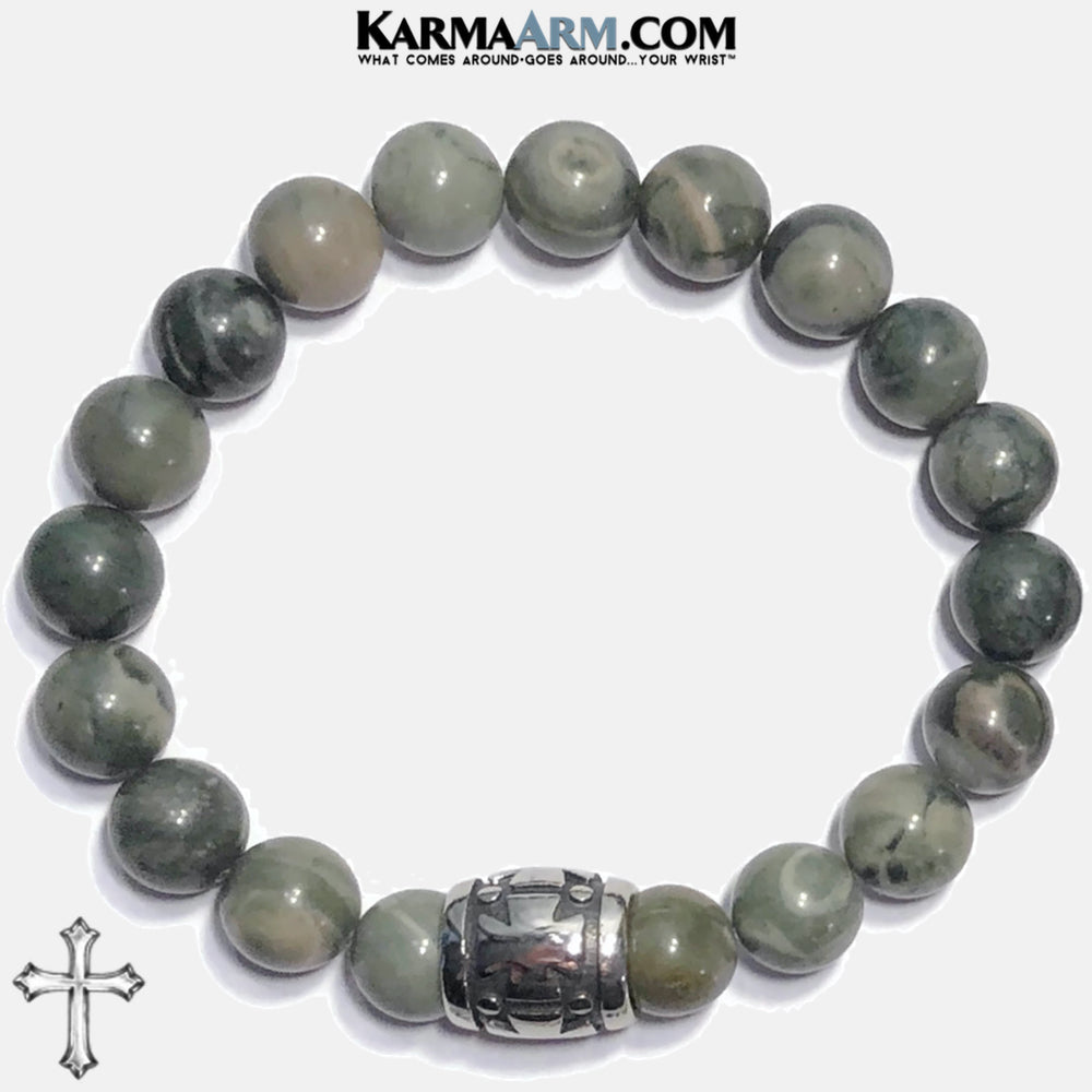 Cross Meditation Mindfulness Mantra Yoga Bracelets. Self-Care Wellness Wristband Jewelry. Green Line Jasper. copy 3