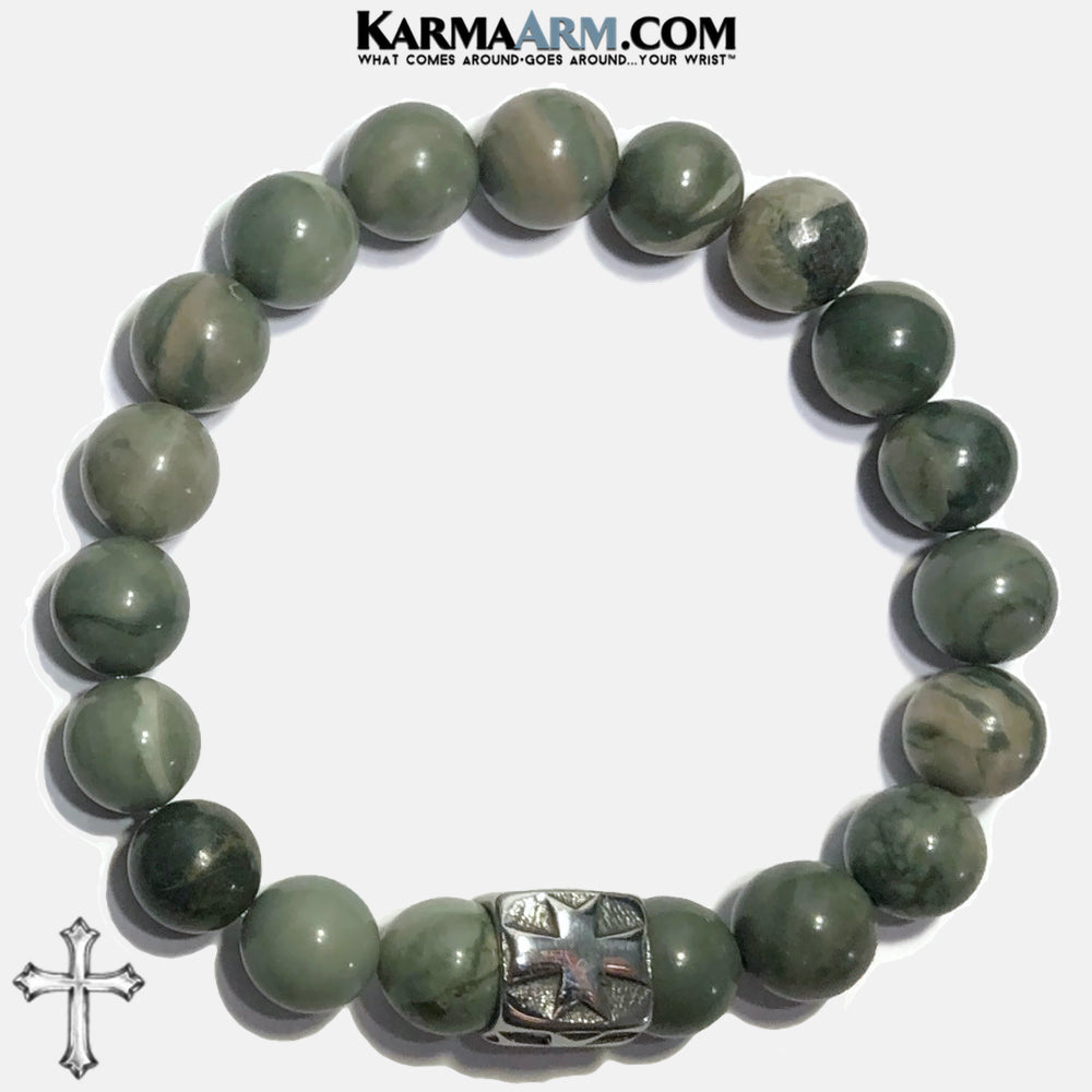 Cross Meditation Mindfulness Mantra Yoga Bracelets. Self-Care Wellness Wristband Jewelry. Green Line Jasper. copy