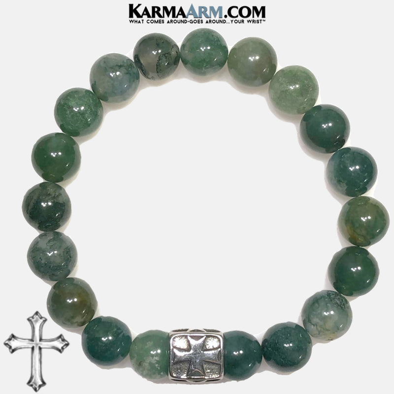 LIVE IN THE MOMENT | Green Moss Agate | Stainless Steel Cross Bracelet