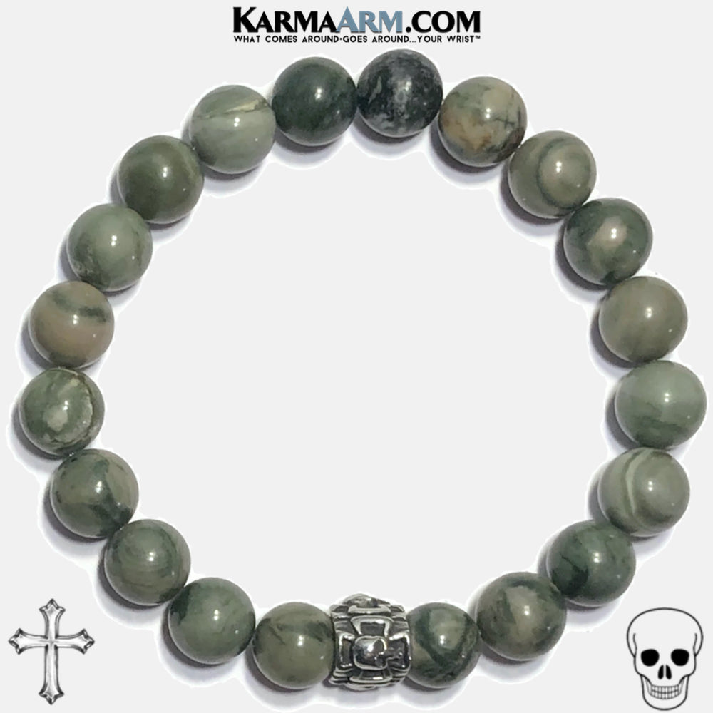 Cross Skull Meditation Mindfulness Mantra Yoga Bracelets. Self-Care Wellness Wristband Jewelry. Green Line Jasper. copy 4