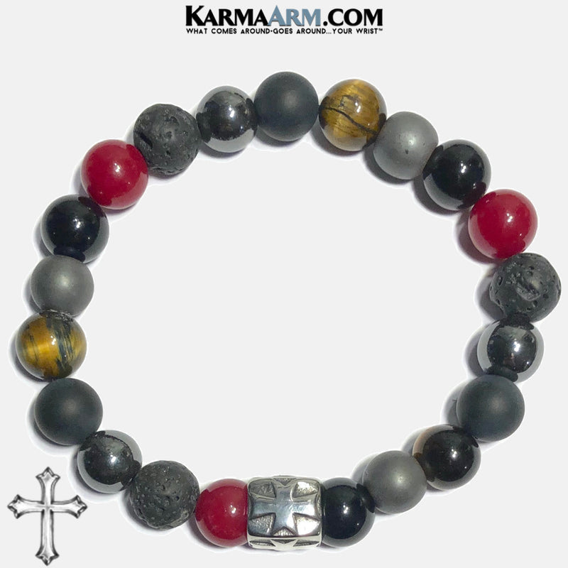 Cross Spiritual Meditation Self-Care Wellness Mantra Yoga Bracelets. Mens Wristband Jewelry. Red Jade lava Onyx Hematite.