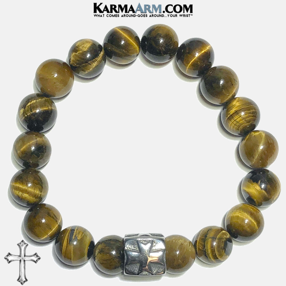 Cross Spiritual Tiger Eye Meditation Self-care wellness Mantra Yoga Bracelets. Mens Wristband Jewelry. . 10mm. Cube.