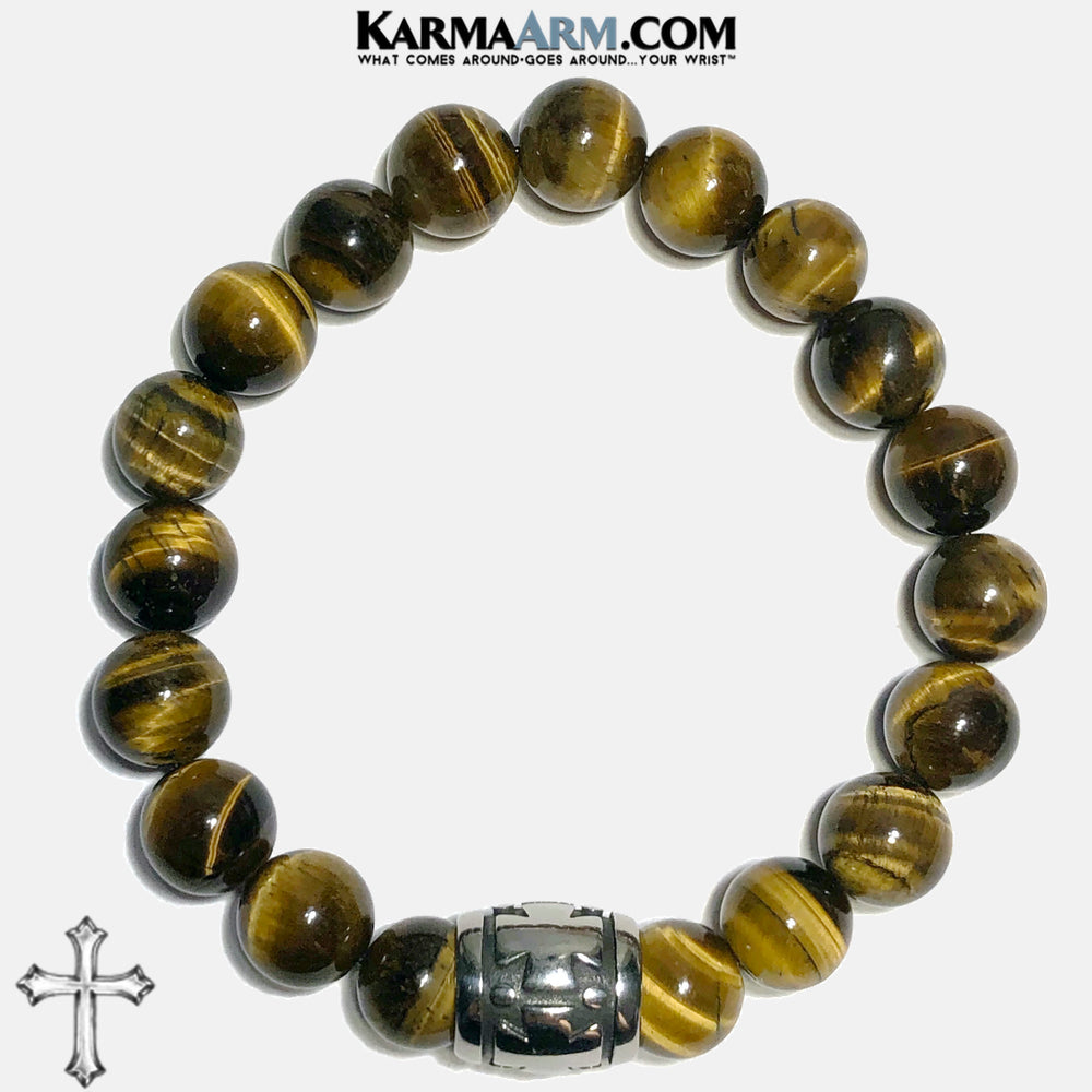 Cross Spiritual Tiger Eye Meditation Self-care wellness Mantra Yoga Bracelets. Mens Wristband Jewelry. . 10mm Barrel.