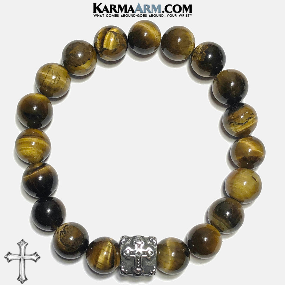 Cross Spiritual Tiger Eye Meditation Self-care wellness Mantra Yoga Bracelets. Mens Wristband Jewelry. . 10mm Triangle.