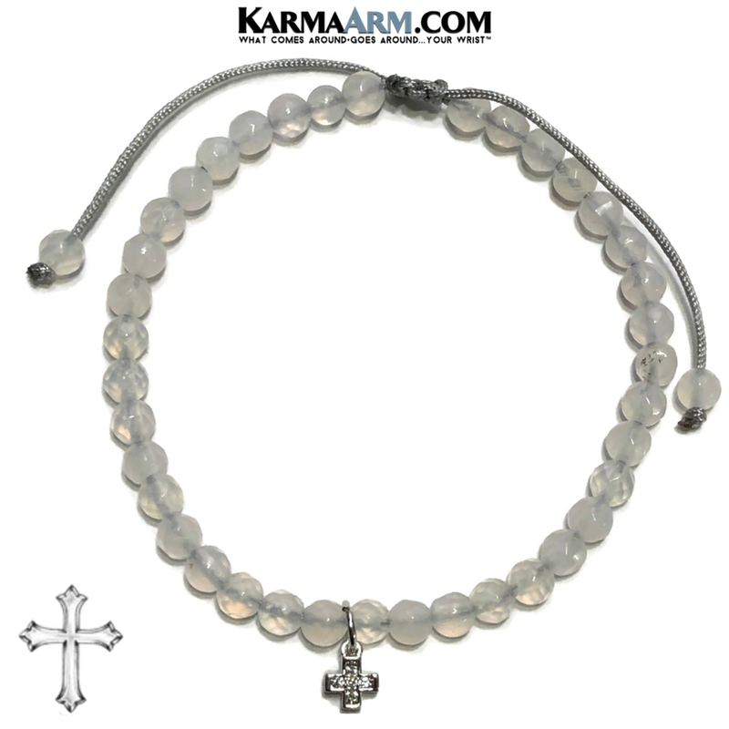 Cross Charm Meditation Mantra Yoga Bracelet. Self-Care Wellness Wristband White Jade.
