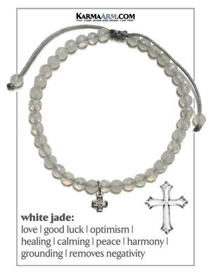 Cross Charm Self-Care Wellness Meditation Mantra Yoga Bracelet Wristband White Jade.