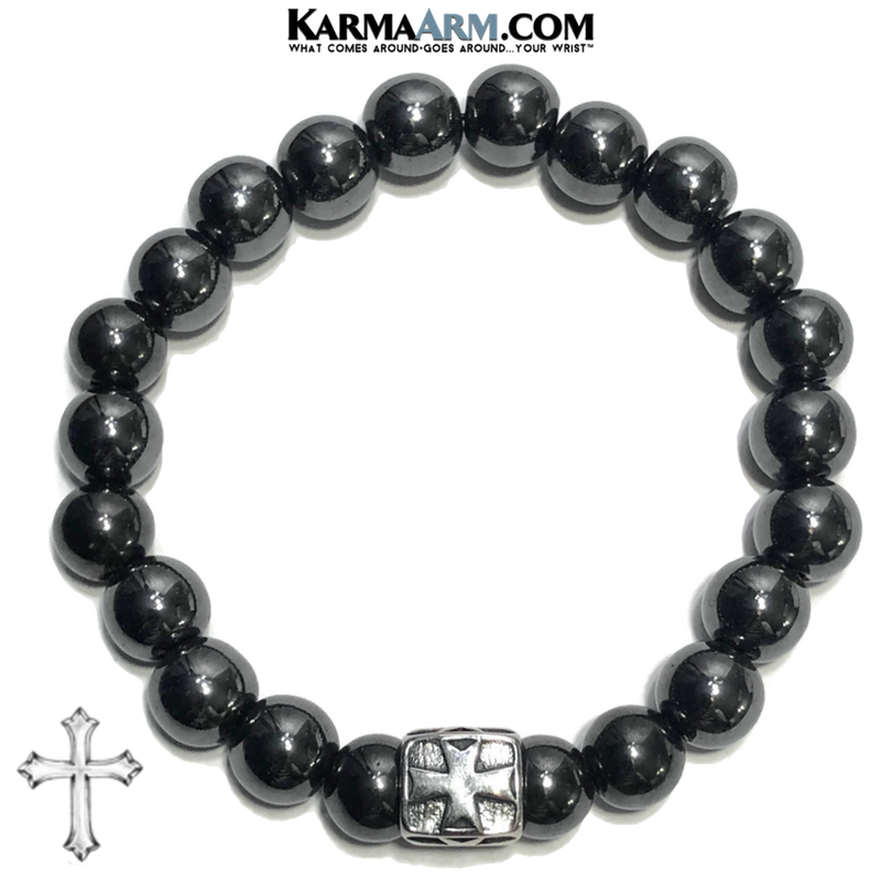 Cross Meditation Mantra Yoga Bracelets. Mens Wristband Jewelry. Hematite.