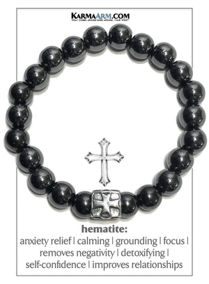 Cross Meditation Mantra Yoga Bracelets. Mens Wristband Jewelry. Lava Hematite.