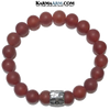 Cross Meditation Mantra Yoga Bracelets. Self-Care Wellness Wristband  Jewelry. Red Agate.