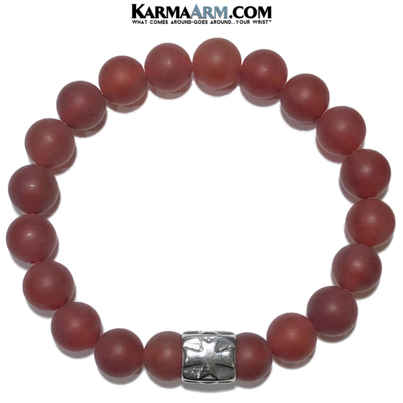 Meditation Mantra Yoga Bracelet. Self-Care Wellness Wristband Cross Jewelry. Matte Red Agate.