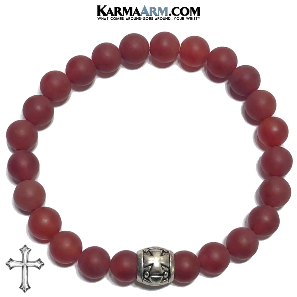 Cross Meditation Yoga Bracelet. Self-Care Wellness Wristband Red Agate.