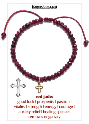 Cross Self-Care Meditation Mindfulness Yoga Bracelets. Wellness Wristband Jewelry. Red Jade.
