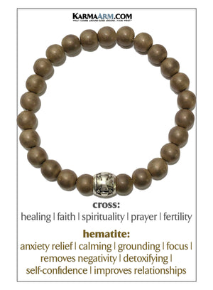 Cross Yoga Meditation bracelets. self-care wellness mens bead wristband jewelry. Copper Hematite.