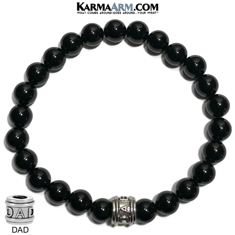 DAD Fathers Day Meditation Self-Care Wellness  Yoga Bracelets. Mens Wristband Jewelry. Black Onyx.