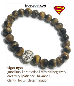 DC Comics Superman Meditation Self-care wellness Mantra Yoga Bracelets. Mens Wristband Jewelry. Tiger Eye.