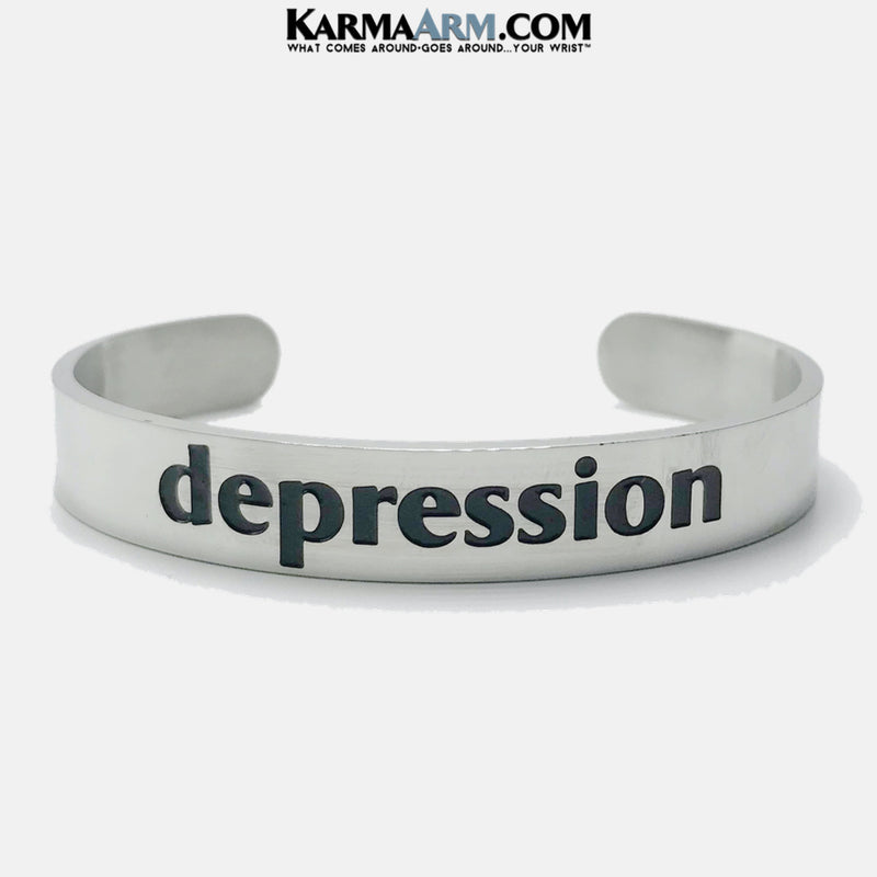 DEPRESSION Cuff Meditation Yoga Bracelet. Mens Self-Care Wellness Wristband Jewelry.