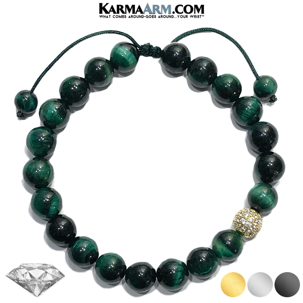 DIAMOND Meditation Mantra Yoga Bracelets. Self-Care Wellness Wristband Jewelry. Green Tiger Eye.