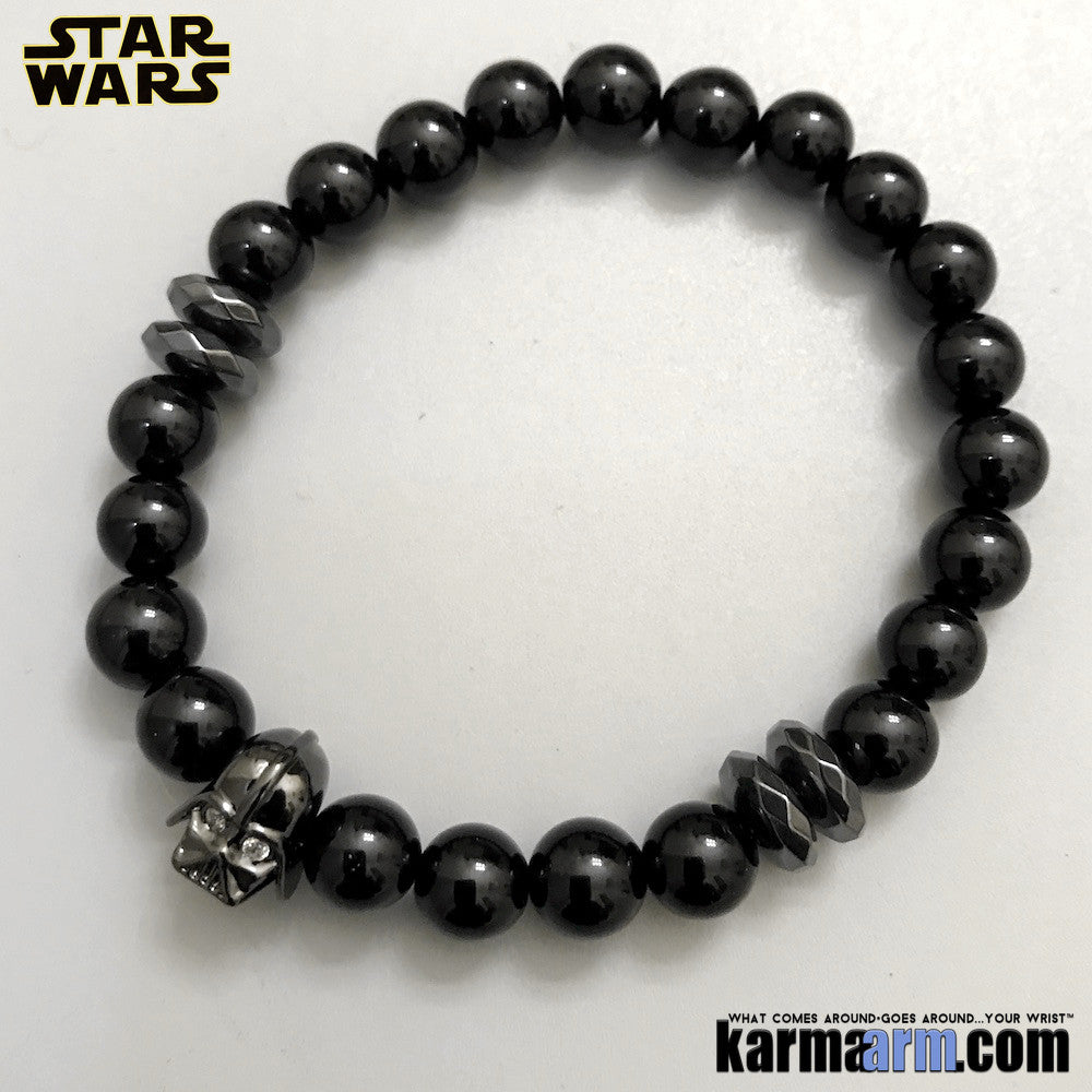 Darth Vader Bracelets. Comic-Con Jewelry. Star Wars StormTrooper Batman  Fanboy Jewelry. DC Comics Beaded Yoga. Handmade Bracelets. Law of Attraction. Black Onyx Hematite Gunmetal.