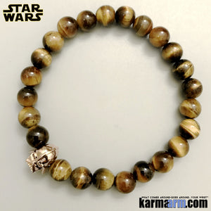 Darth Vader Bracelets. Comic-Con Jewelry. Star Wars StormTrooper Batman  Fanboy Jewelry. DC Comics Beaded Yoga. Handmade Bracelets. Law of Attraction. Tiger Eye. Rose Gold.