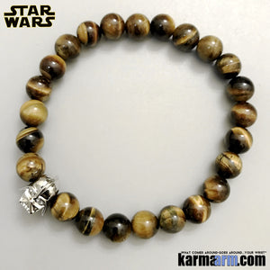 Darth Vader Bracelets. Comic-Con Jewelry. Star Wars StormTrooper Batman  Fanboy Jewelry. DC Comics Beaded Yoga. Handmade Bracelets. Law of Attraction. Tiger Eye. White Gold. Silver..