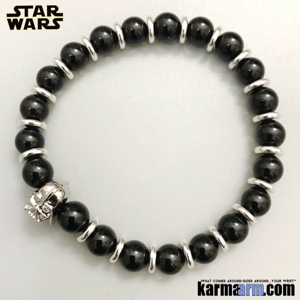 Darth Vader Bracelets. Comic-Con Jewelry. Star Wars StormTrooper Batman  Fanboy Jewelry. DC Comics Beaded Yoga. Handmade Bracelets. Law of Attraction. Tiger Eye. White Gold Silver Black Onyx.