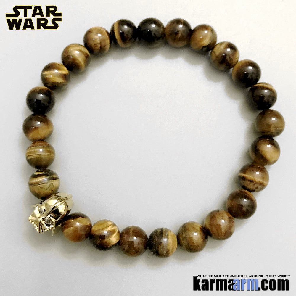 Darth Vader Bracelets. Comic-Con Jewelry. Star Wars StormTrooper Batman  Fanboy Jewelry. DC Comics Beaded Yoga. Handmade Bracelets. Law of Attraction. Tiger Eye Gold.