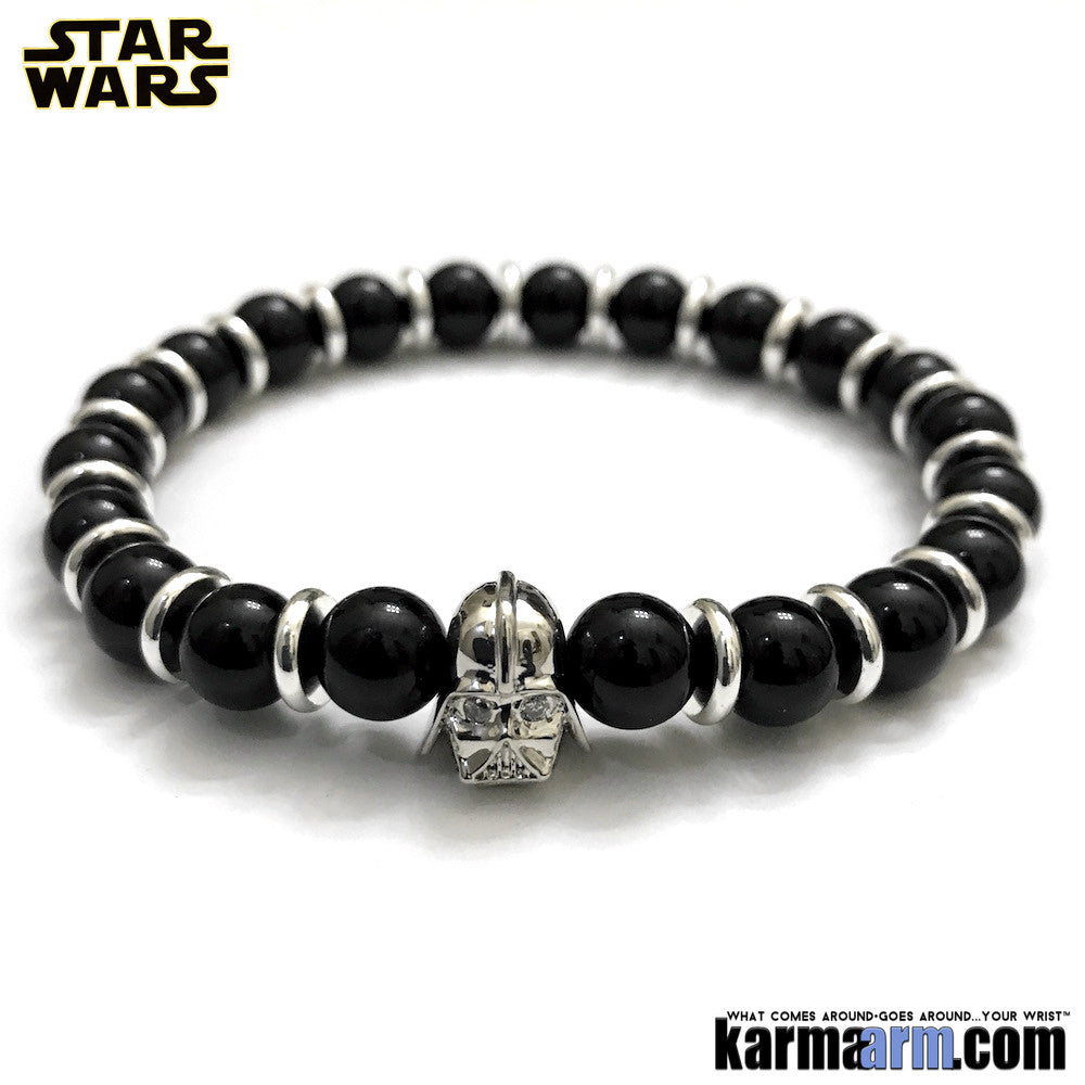 Darth Vader Bracelets. Comic-Con Star Wars. Jewelry. StormTrooper Batman  Fanboy Jewelry. DC Comics Beaded Yoga. Handmade Bracelets. Law of Attraction. Black Onyx.  Silver White Gold.