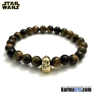 Darth Vader Bracelets. Comic-Con Star Wars. Jewelry. StormTrooper Batman  Fanboy Jewelry. DC Comics Beaded Yoga. Handmade Bracelets. Law of Attraction. Tiger Eye.  Gold.