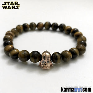 Darth Vader Bracelets. Comic-Con Star Wars. Jewelry. StormTrooper Batman  Fanboy Jewelry. DC Comics Beaded Yoga. Handmade Bracelets. Law of Attraction. Tiger Eye. Rose Gold.