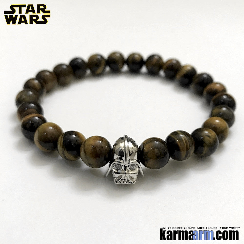 Darth Vader Bracelets. Comic-Con Star Wars. Jewelry. StormTrooper Batman  Fanboy Jewelry. DC Comics Beaded Yoga. Handmade Bracelets. Law of Attraction. Tiger Eye. White Gold. Silver.